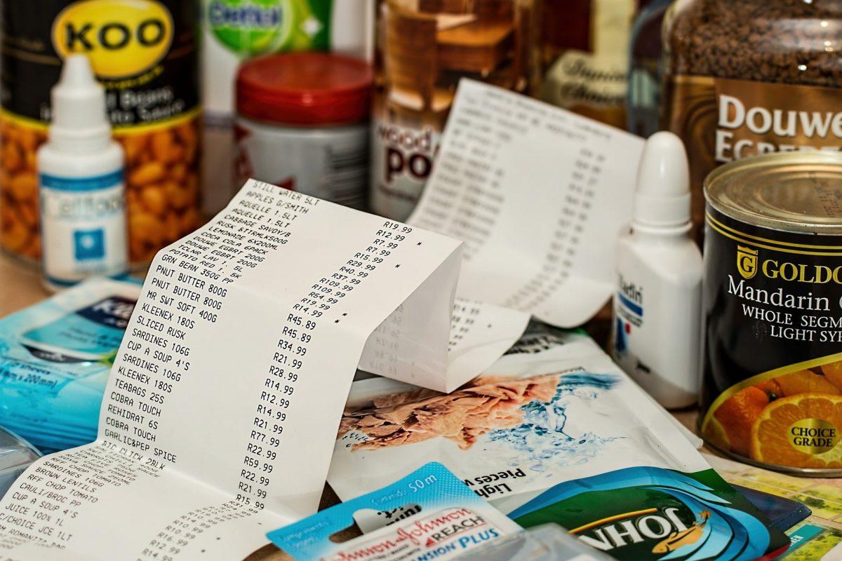 groceries and cash register receipt